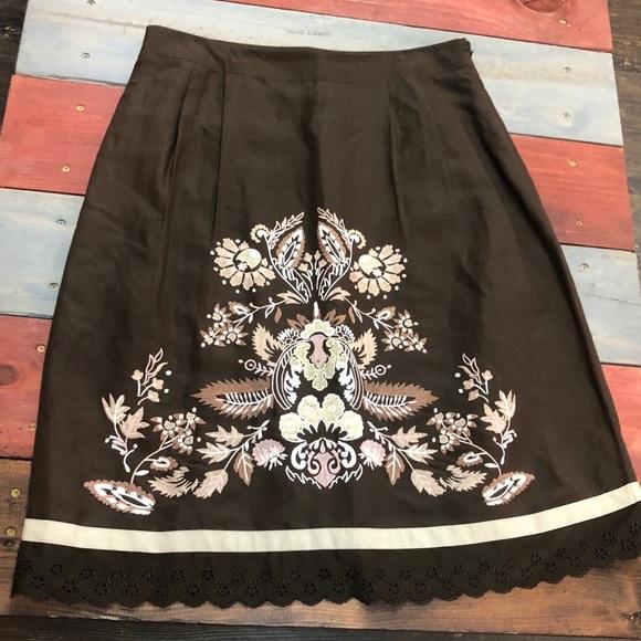 LOFT Dresses & Skirts - 🎉3/$35 LOFT Chocolate Embroidered Skirt